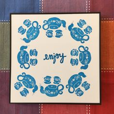This blue print is done with two handcarved stamps, the teapot and the cups and the word. It's an original mandala like print to bring joy to your desk or kitchen. Enjoy! Mery