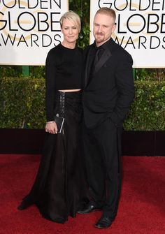 Golden Globes 2015 Red Carpet Arrivals | Robin Wright ('House of Cards') and Ben Foster ('Lone Survivor')