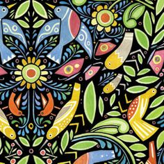 Awesome new arts and crafts fabric from Julie Paschkis called Chickadee