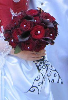 Black Magic Roses and Burgundy Calla Lillies hand-tied bridal bouquet. Salt Springs, FL Wedding 2010