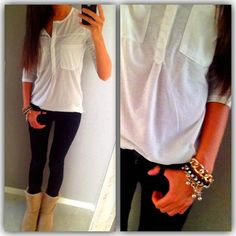 Sleeveless white top like this., leather leggins/Jeans, black booties and blazer? Perfect Fall Outfit, Cute Fall Outfits, Simple Outfits, Winter Outfits, Casual Outfits, Ugg Classic Short, Cold Weather Fashion, Kinds Of Clothes, Ugg Boots