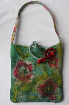 Felt Bag Purse Bag   Flower Stem Ties by FrouFrouFelt on Etsy