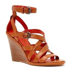 NEW IN BOX COACH Women's Dawn Wedge Sandals Size 8 Saddle Leather MSRP $265
