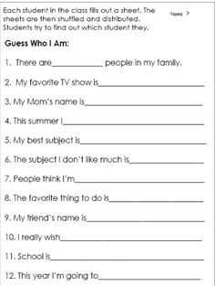 Guess Who I Am:  Fun for an Open House Activity