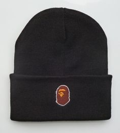 20df7af75775c Men s   Women s A Bathing Ape The Ape Iconic Head Mascot Logo Cuff Knit  Beanie Hat - Black
