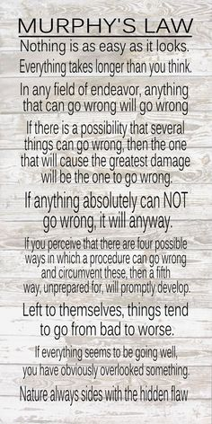 Engineering Gift - Murphy's Law Wood Signs, Prints, Canvas by HeartlandSigns on Etsy Clever Quotes, Great Quotes, Inspirational Quotes, Law Quotes, Sign Quotes, Murphy Law, Irish Quotes, Life Motivation, Stress