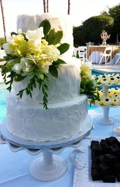 Beach wedding themed dessert table by Cake & All Things Yummy in Kernersville, NC