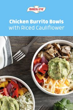 Wondering where you'll find your next delicious lunch bowl? Look no further than this easy-to-make, keto-friendly Chicken Burrito Bowl with Bird's Eye Riced Cauliflower. Tap this pin for the recipe! Cilantro Lime Cauliflower Rice, Riced Cauliflower, Chicken Burrito Bowl, Chicken Burritos, Lunch Recipes, Keto Recipes, Healthy Recipes, Cheese Nutrition, Health Dinner