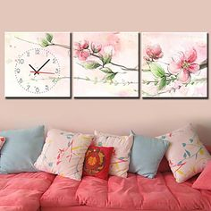 Contemporary Floral  Canvas Wall Clock in 3pcs – USD $ 54.99