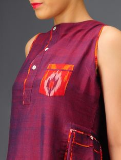Purple Ikat Cotton Dress at Jaypore.com #tie-dye #handwoven