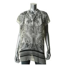 SHILOH 770 NEW Multi Chiffon Printed Short Sleeves Henley Top Blouse L #Shiloh #Blouse #Casual