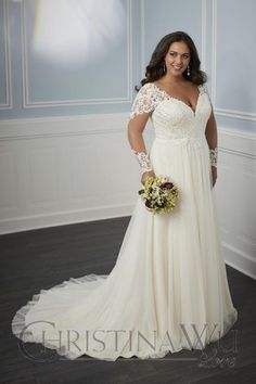 Christina Wu 29345 Long Sleeve Plus Size Bridal Gown - Plus size wedding gowns - Boho Wedding Dress With Sleeves, How To Dress For A Wedding, Dress Wedding, Full Figure Wedding Dress, Stunning Wedding Dresses, Lace Mermaid Wedding Dress, Lace Wedding, Plus Size Wedding Dresses With Sleeves, Plus Size Wedding Gowns