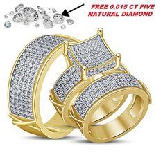 Yellow Gold Over 4.0 Ct Lab Diamond Engagement Bridal Wedding Band Trio Ring Set #bacio2jewel