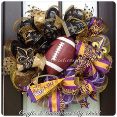 Deco Mesh LSU Tigers New Orleans Saints house by CreatedByTerri, $95.00 Football Team Wreaths, Sports Wreaths, Football Season, Saints Wreath, House Divided Wreath, Spirit Gifts, Fabric Wreath, Lsu Tigers, Deco Mesh Wreaths
