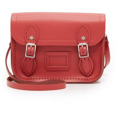 Cambridge Satchel Tiny Satchel ($120) ❤ liked on Polyvore featuring bags, handbags, berry red, leather satchel handbags, leather crossbody handbags, crossbody handbags, leather handbags and leather crossbody purse