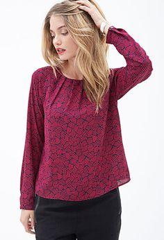 Matchstick Print Blouse | FOREVER 21 - 2000085194 my closet