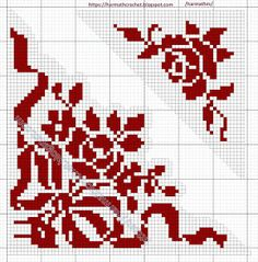 Crochet Patterns Filet, Counted Cross Stitch Patterns, Cross Stitch Letters, Cross Stitch Rose, Tapestry Crochet, Crochet Lace, Fillet Crochet, Drawing Templates, Crochet Tablecloth