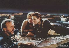 "dicaprio and winslet on the ""set"" of titanic getting a little direction from cameron :)"