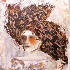 Avril par Christyne Proulx / ©2016/ 24X24 /  technique mixte sur bois / figurative, contemporary art, acrylique, art painting, Street Art (Urban Art), Canvas, Womem, Portraits, femme, street art, patchwork, peinture, contemporain, abstrait, tableau street art,expressionnisme