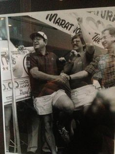 Mike and Don accepting the trophy and grand prize check at the 1984 Best Ribs In America contest!