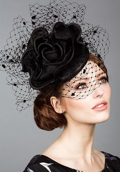 Fashion | Hairstyle | Fascinator | Headpiece | Rachel Trevor Morgan, S/S 2014.Straw pillbox with straw rose and veiling.