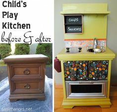 DIY: Kids Play Kitchen From a Nightstand wanting to make em one of these for bday!