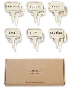 Porcelain cheese labels. So cute.
