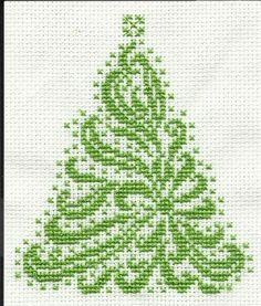 Cross Stitchers Club - tree, animals on the site too, Monochrome