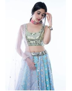 Indian Teen, Issa, Midnight Blue, Lehenga, Sequin Skirt, Cart, Pastel, Notes, Bridal