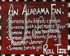 Roll Tide Alabama Fan Sign Original Painting by thecozyloft, $25.00