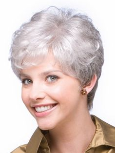 Perfect Short Wavy Hand-tied Grey Wigs surely have a striking beauty and are perfect for women of all age groups. Our grey wigs are natural looking. We love these gray wigs, and we think you will too! Grey Wig, Short Grey Hair, Short Wavy, Short Hair Cuts For Women, Curly Pixie Cuts, Pixie Cut With Bangs, Short Hairstyles For Women, Wig Hairstyles, Short Haircuts