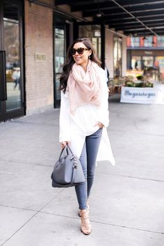 White trench coat + pale pink scarf + tan heels