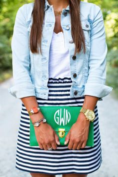 Stripes with a pop of color and denim jacket