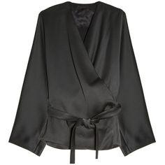 THE ROW Satin Wrap Blouse ($2,208) ❤ liked on Polyvore featuring tops, blouses, tie top, satin kimono, kimono top, black tie blouse and wrap top