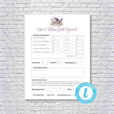 Hair Stylist & Makeup Artist Bridal or Event Agreement Contract Template - Hair Stylist & Makeup Artist Bridal or Event Agreement Contract Templa - Makeup Artist Resume, Document Sign, Download Hair, Makeup Services, Online Print Shop, Bridal Makeup, Online Printing, Stylists, Make Up