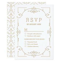 Damask RSVP Wedding Invitations Elegant modern classic vintage wedding RSVP Card