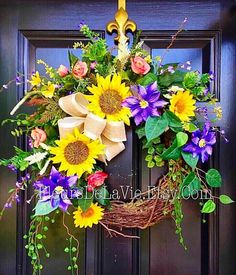 Door Wreaths Front Door Wreaths Grapevine Wreath by FleursDeLaVie Spring Door Wreaths, Summer Wreath, Wreaths For Front Door, Front Doors, Diy Wreath, Grapevine Wreath, Wreath Ideas, Sunflower Wreaths, Welcome Wreath