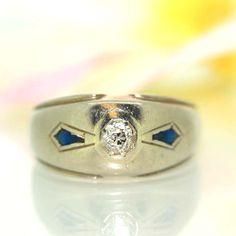 Antique 14k White gold Natural Old Mine cut VS Diamond & Blue Sapphire ring band by crystalanchor on Etsy