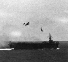 Desperate to stem the tide, Japan in late 1944 began fitting fighter planes with 550-pound bombs; pilots were to plow them into US warships. The gambit was called kamikaze, or divine wind, after a typhoon that repelled an invading Mongol fleet in 1274.