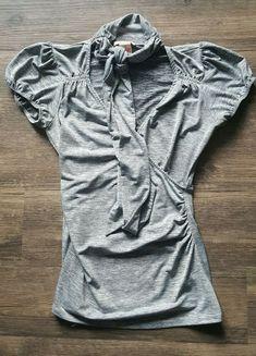 15966f742a Womens Gray Mesh Ruched Empire V Neck Velvet Short Cap Sleeve Shirt Blouse  Top M