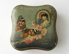 Dainty Dinah toffee tin, Vintage candy tin, Wavy square box, Collectible tin, George W Horner tin