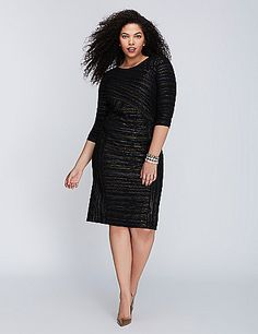 This dress wants to know what party you're taking it to. Fitted sheath silhouette. Crinkle fabric has a two-tone metallic finish. Hidden back zipper with hook-and-eye closure. lanebryant.com