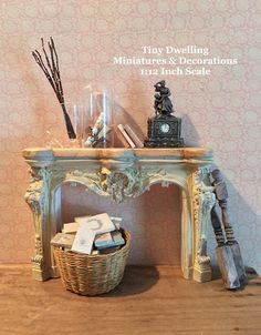 Items similar to Dollhouse Fireplace, French Inspired Miniature Fireplace, French Dollhouse Fireplace, Miniature Fireplace on Etsy Tiny Furniture, Miniature Furniture, Dollhouse Furniture, Dollhouse Ideas, Diy Doll Miniatures, Miniature Dolls, Miniature Tutorials, 4 H, Antique Light Fixtures
