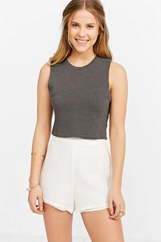 Ecote Raw-Edge Two-Layer Short - Urban Outfitters