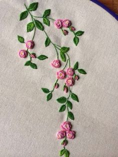 Resultado de imagem para bullion stitch embroidery from roses to wildflowerspink and green embroidered flowers -- Gallery.This Pin was discovered by Нат Hand Embroidery Flowers, Simple Embroidery, Hand Embroidery Stitches, Silk Ribbon Embroidery, Crewel Embroidery, Hand Embroidery Designs, Embroidery Techniques, Floral Embroidery, Embroidered Flowers