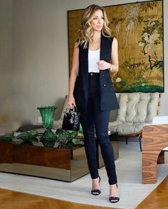 Clothes for women classy interview outfits 62 Ideas Classy Outfits For Women, Clothes For Women, Vest Outfits, Fashion Outfits, Black Vest Outfit, Work Fashion, Fashion Looks, Emo Fashion, Womens Fashion