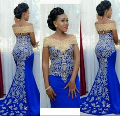 Elegant Long Evening Dress, Prom Mermaid Off Shoulder Gown with Gold Embroidery Floor Length African Women Blue Formal Prom Evening Gowns African Evening Dresses, African Wedding Dress, African Print Dresses, African Print Fashion, African Fashion Dresses, African Attire, Evening Gowns, Evening Party, Ankara Fashion