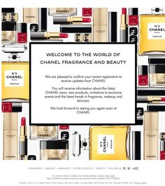 Chanel #WelcomeEmail Birthday Email, Welcome Emails, Email Design, Direct Mailer, Email Marketing, Website, Ideas, Edm, Centre