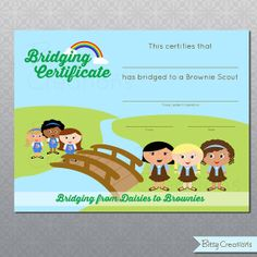 Printable Bridging Certificate Girl Scouts Digital File Daisies to Brownies