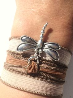 Dragonfly Silk Wrap Bracelet Brown Bohemian Yoga Jewelry Necklace Gift For Her Birthday Christmas Unique Gift Under 50 Item K1. $24.95, via Etsy.